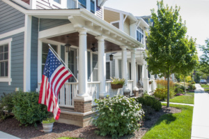Fiber Cement siding with American Flag on front porch