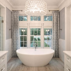 bathroom with marvin double hung windows